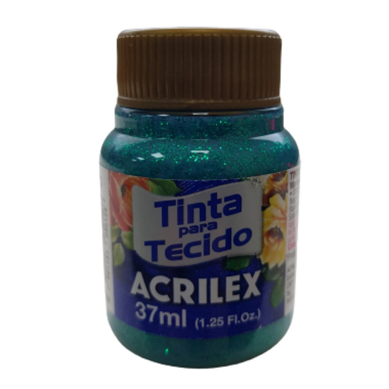 TINTA P/ TECIDO C/ GLITTER VERDE ESMERALDA