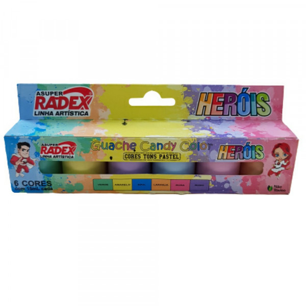 TINTA GUACHE CANDY COLOR C/6 15ML RADEX