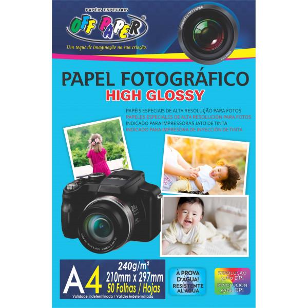 PAPEL FOTOGRAFICO HIGH GLOSSY 240G C/50FLS