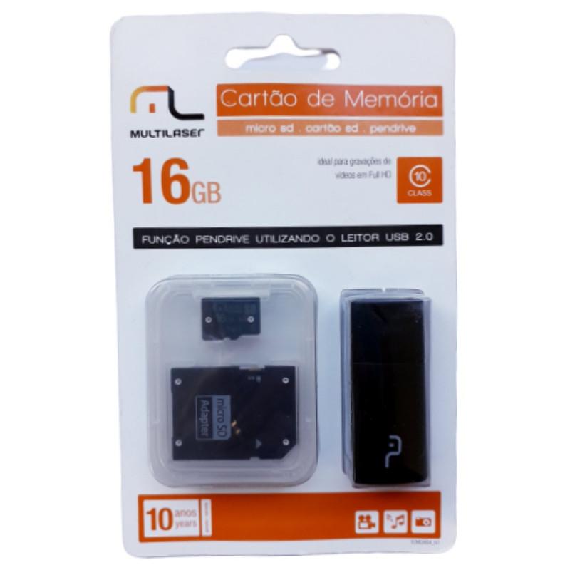 CARTÃO DE MEMÓRIA 16 GB 3 EM 1 MULTILASER MC112