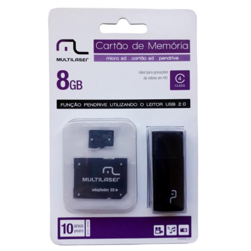 CARTÃO DE MEMÓRIA 8 GB 3 EM 1 MULTILASER MC058