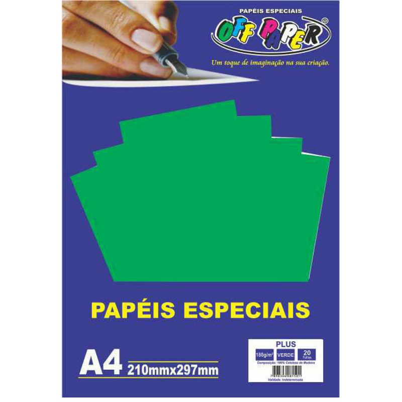 PAPEL PLUS VERDE A4 180G 20FLS
