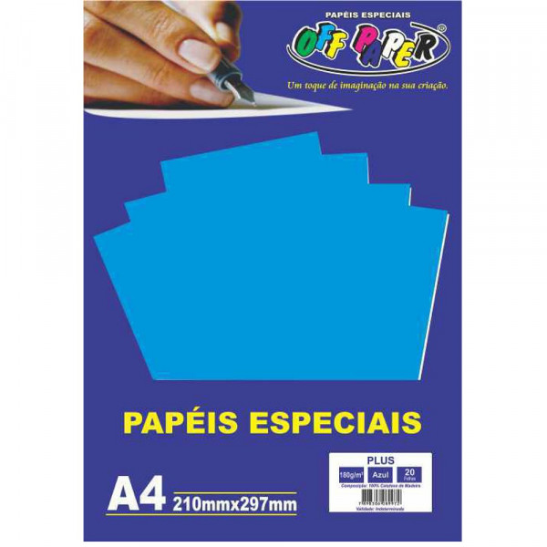 PAPEL PLUS AZUL A4 180G 20FLS