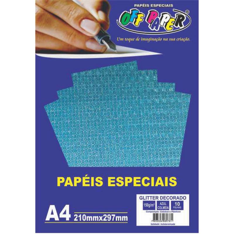 PAPEL GLITTER DECORADO AZUL COLMEIA 150G 10FLS