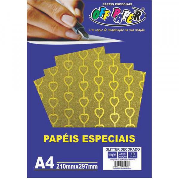 PAPEL GLITTER DECORADO OURO C/ CORACAO 150G 10FLS