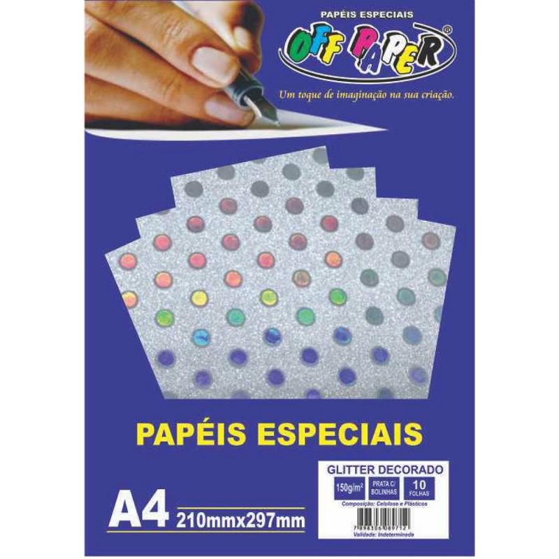 PAPEL GLITTER DECORADO PRATA C/ BOLINHAS 150G 10FLS