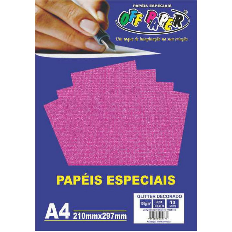 PAPEL GLITTER DECORADO ROSA COLMEIA 150G 10FLS