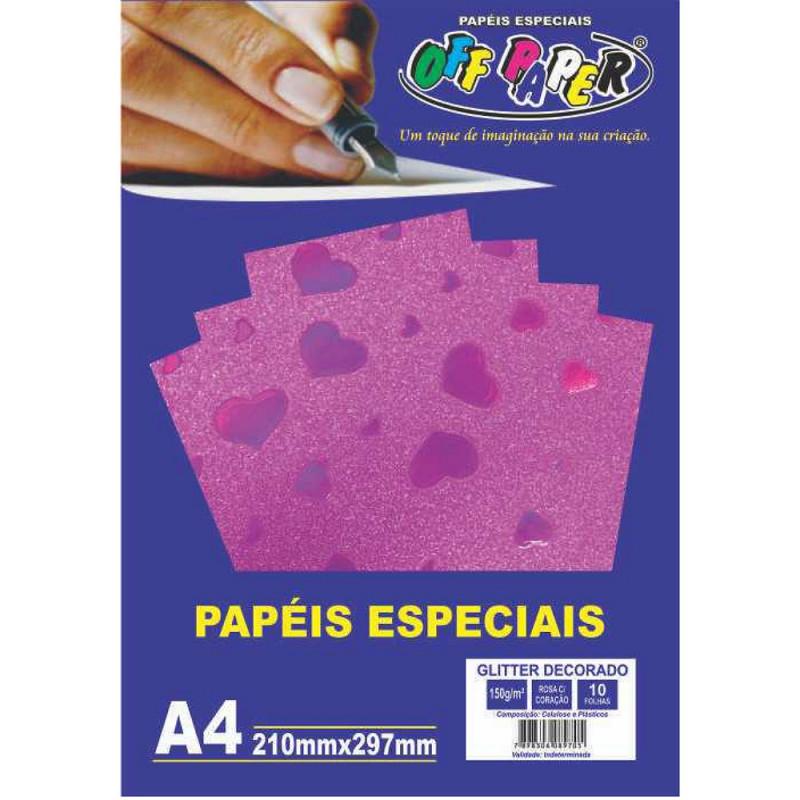 PAPEL GLITTER DECORADO ROSA C/ CORAÇÃO 150G 10FLS