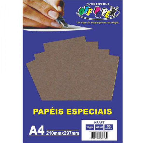 PAPEL KRAFT A4 NATURAL 180G 50FLS