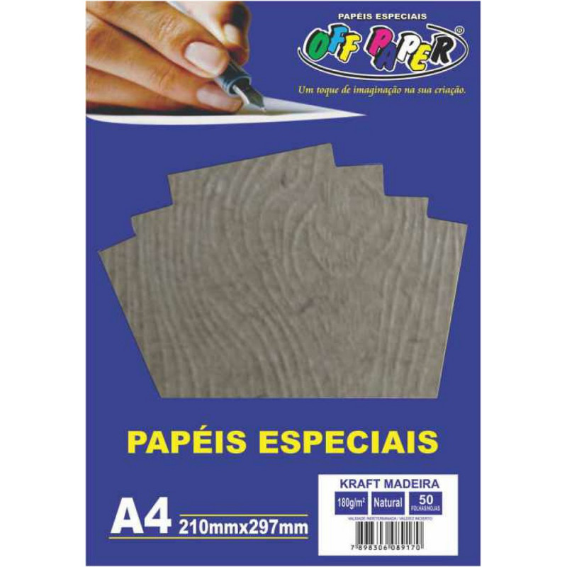 PAPEL KRAFT MADEIRA A4 NATURAL 180G 50FLS