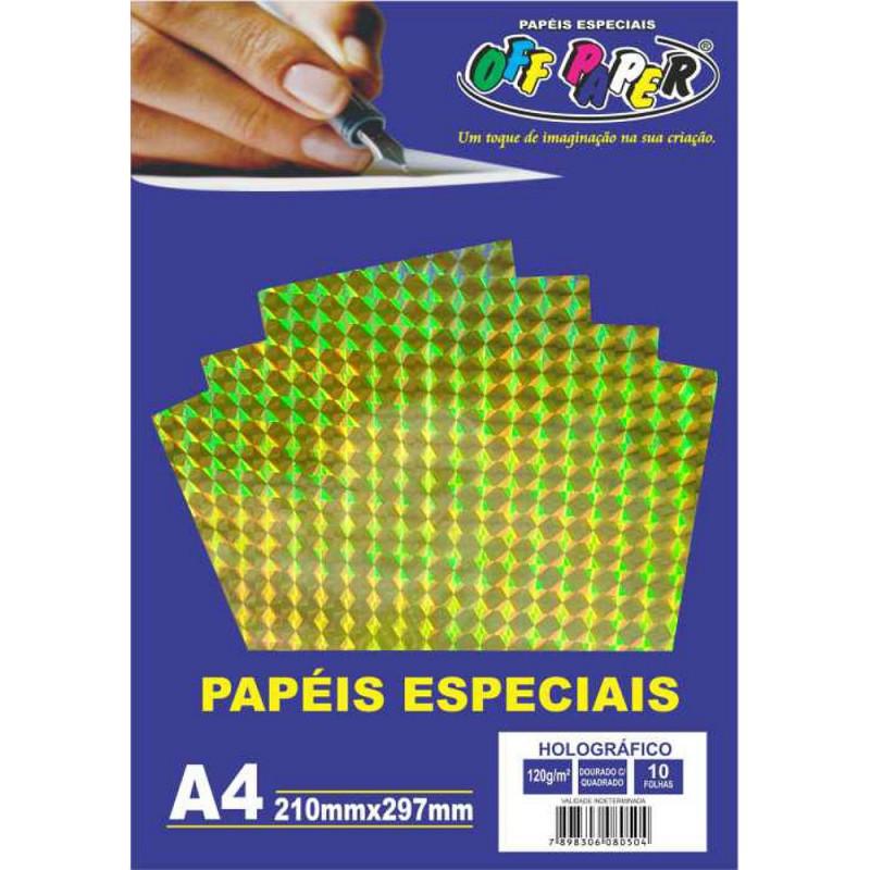 PAPEL HOLOGRAFICO DOURADO C/ QUADRADO 120G 10FLS