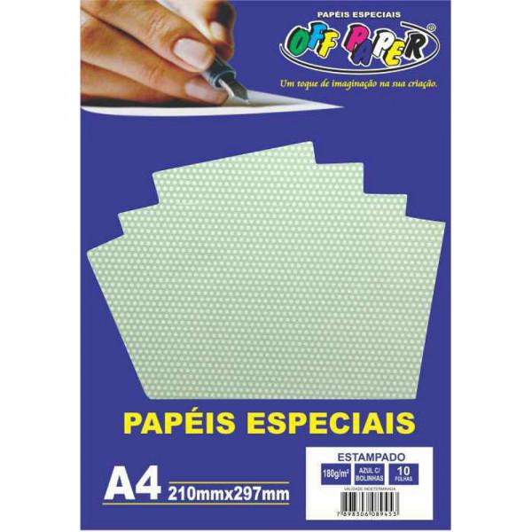 PAPEL ESTAMPADO AZUL C/ BOLINHAS 180G 10FLS