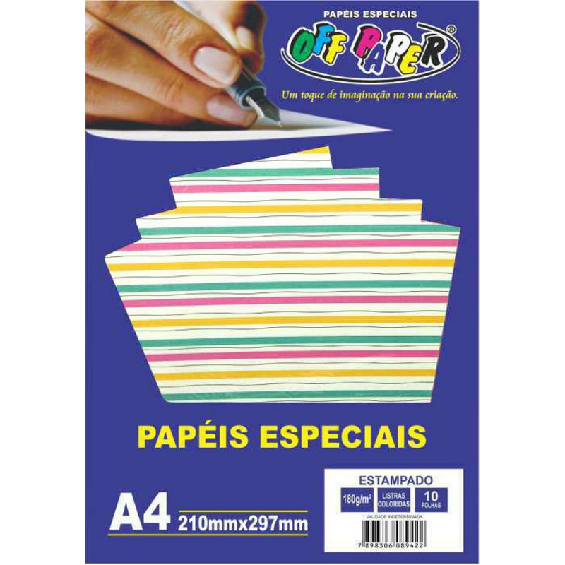 PAPEL ESTAMPADO LISTRAS COLORIDAS 180G 10FLS