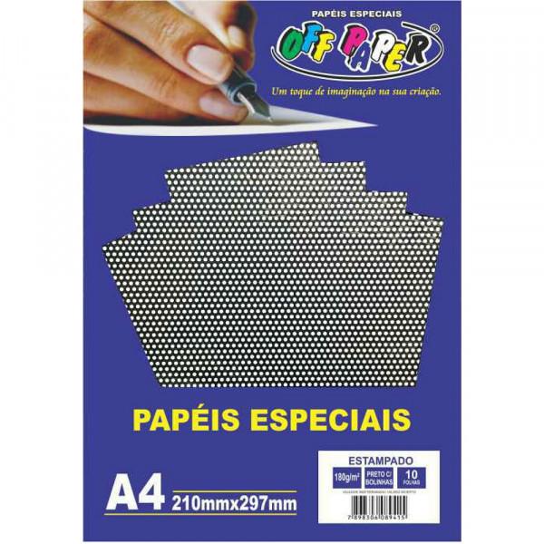 PAPEL ESTAMPADO PRETO C/ BOLINHAS 180G 10FLS