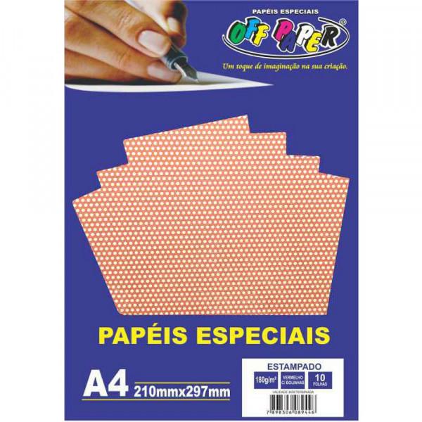 PAPEL ESTAMPADO VERMELHO C/ BOLINHAS 180G 10FLS