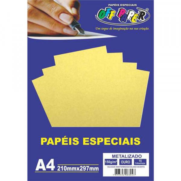 PAPEL METALIZADO OURO A4 150G 15FLS