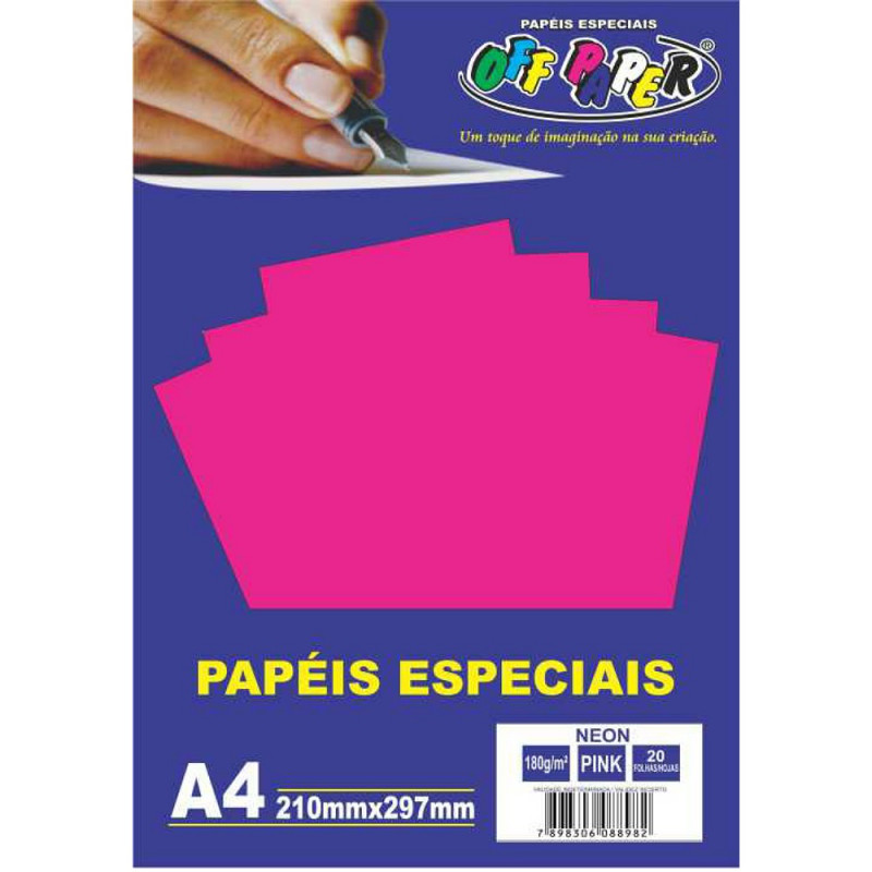 PAPEL NEON PINK A4 180G 20FLS