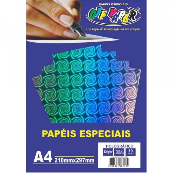 PAPEL HOLOGRAFICO AZUL C/ LABIRINTO 120G 10FLS