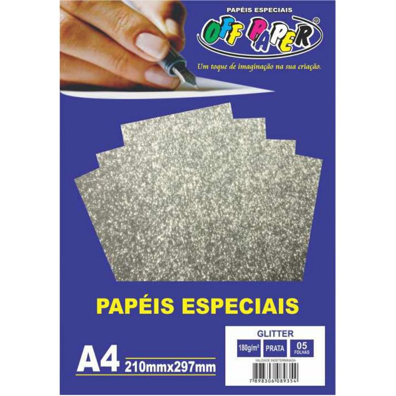 PAPEL GLITTER PRATA A4 180G 05FLS
