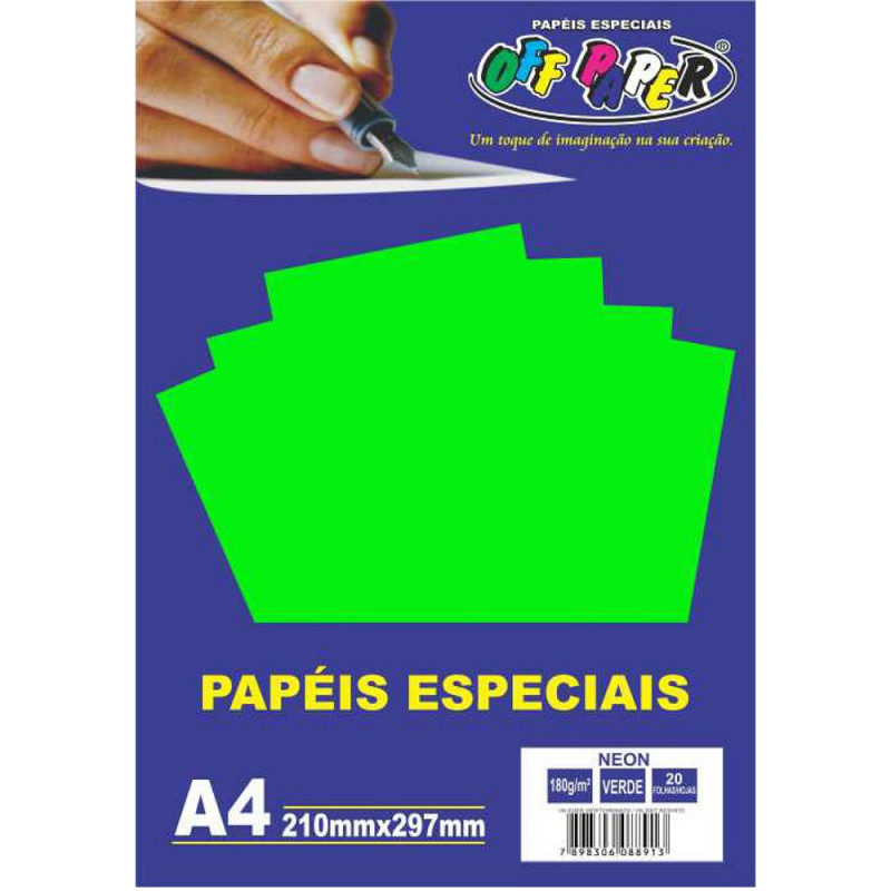 PAPEL NEON VERDE A4 180G 20FLS