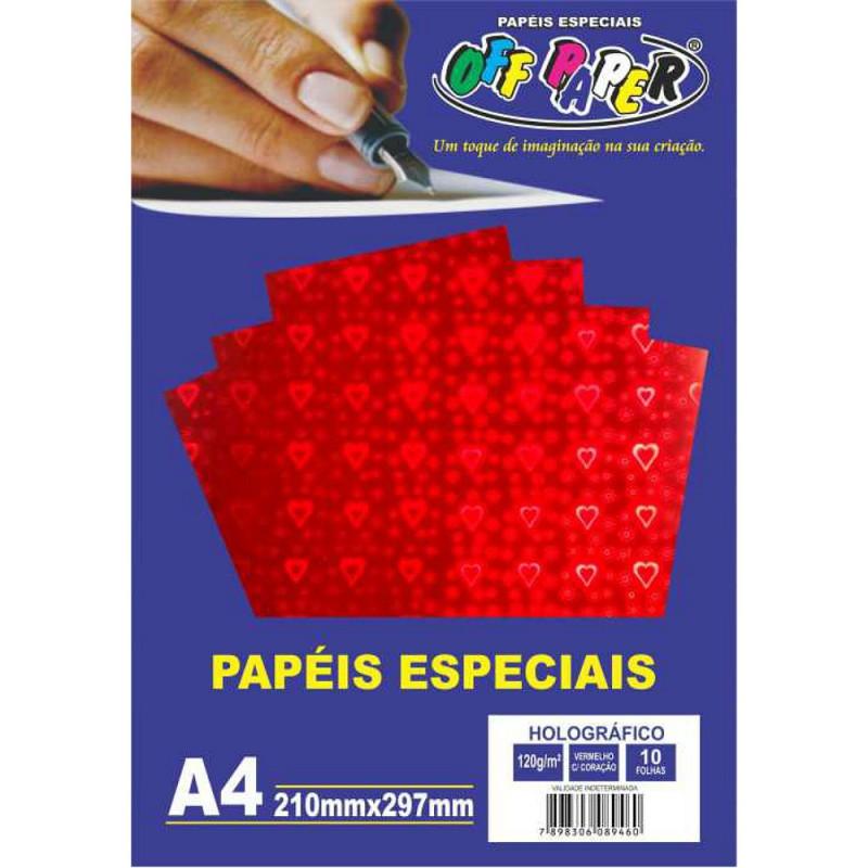 PAPEL HOLOGRÁFICO VERMELHO C/ CORACAO 120G 10FLS