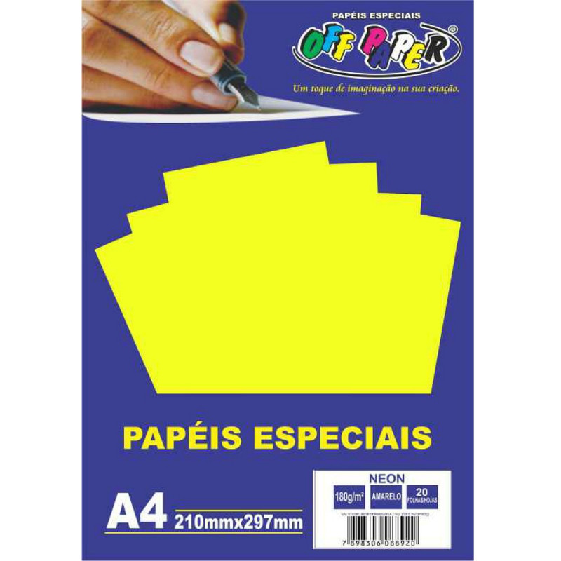 PAPEL NEON AMARELO A4 180G 20FLS