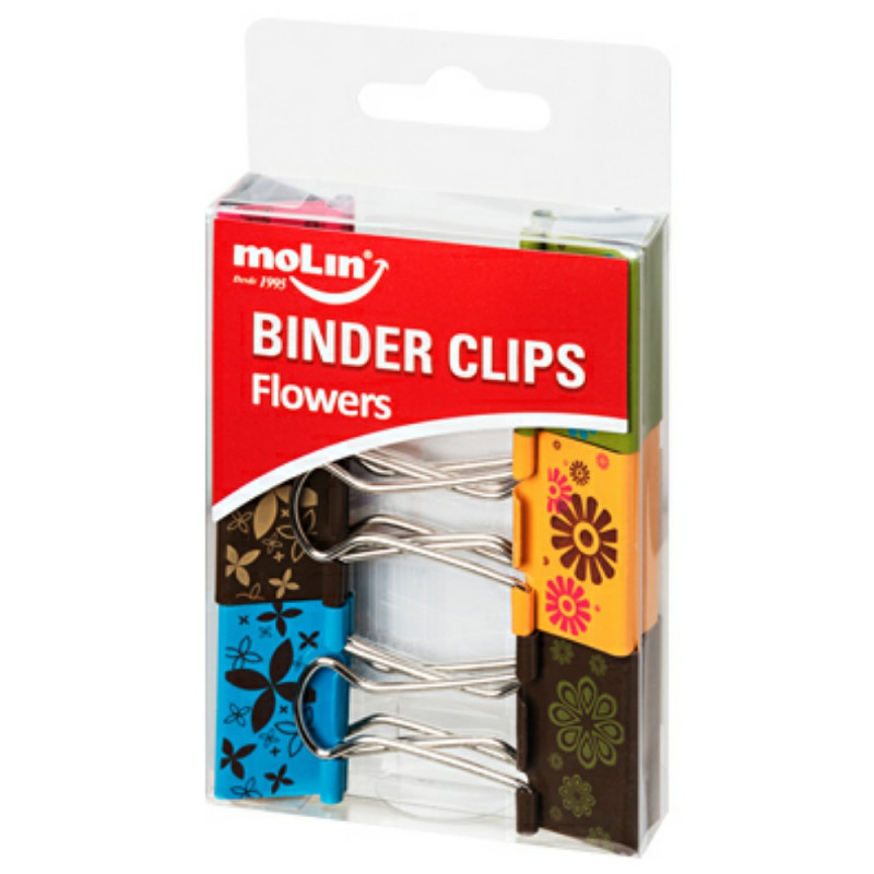BINDER CLIPS FLOWERS C/ 6 MOLIN