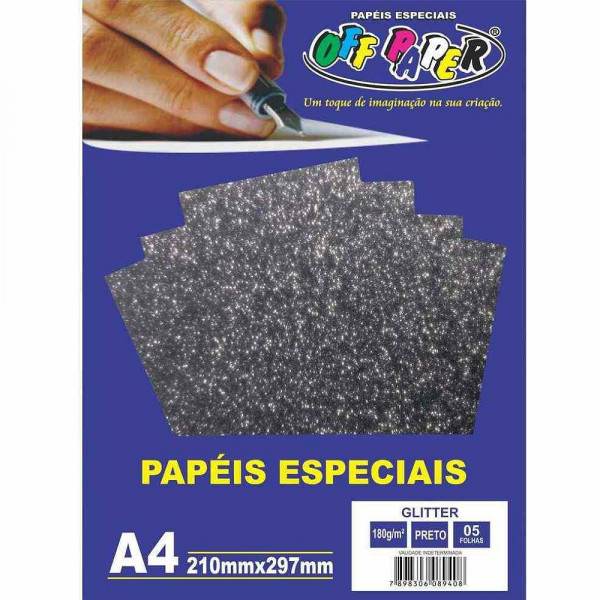 PAPEL GLITTER PRETO A4 180G 05FLS