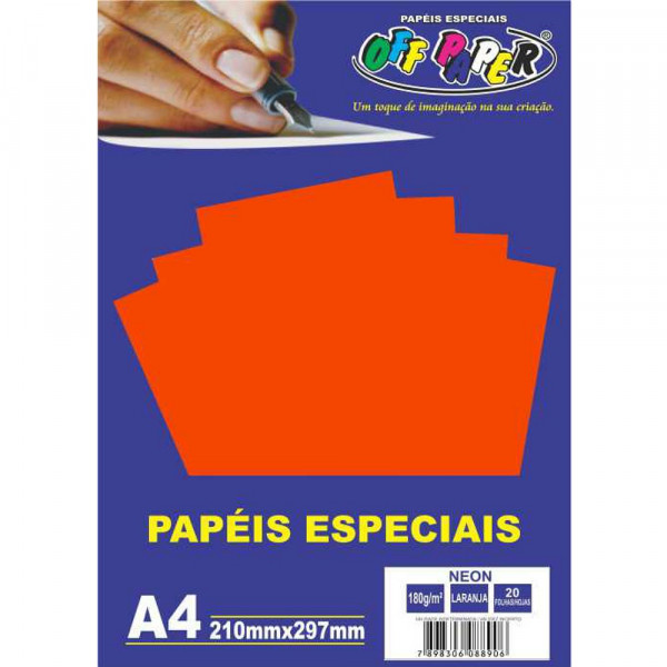 PAPEL NEON LARANJA A4 180G 20FLS