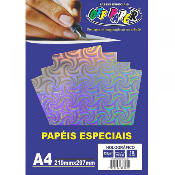 PAPEL HOLOGRÁFICO PRATA C/ ESPIRAL 120G 10FLS
