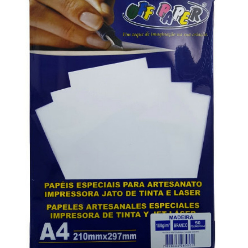 PAPEL MADEIRA A4 OFF PAPER C/ 50 BRANCO