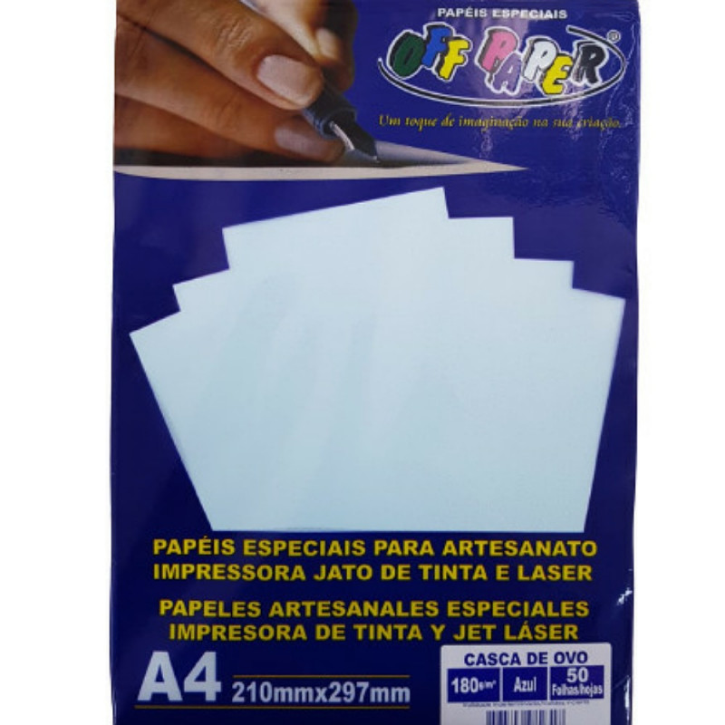 PAPEL CASCA DE OVO 180G AZUL 50FLS OFF PAPER