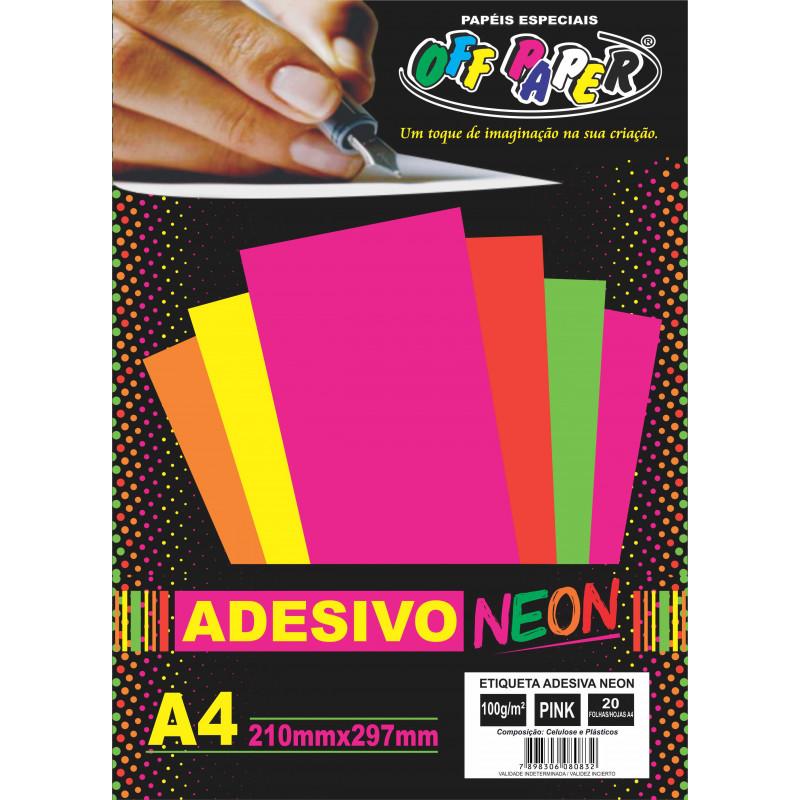 ETIQUETA ADESIVA NEON PINK A4 C/20FLS
