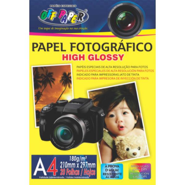 PAPEL FOTOGRAFICO HIGH GLOSSY 180G C/20FLS