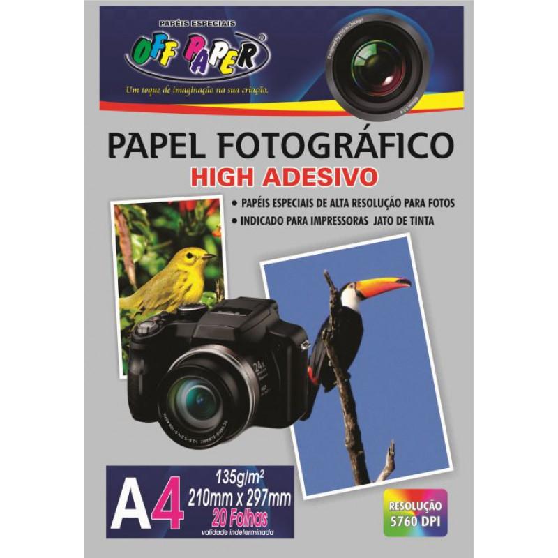 PAPEL FOTOGRÁFICO ADESIVO A4 135G C/ 20FLS