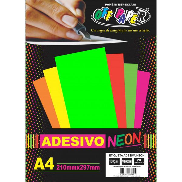 ETIQUETA ADESIVA NEON VD A4 C/20FLS