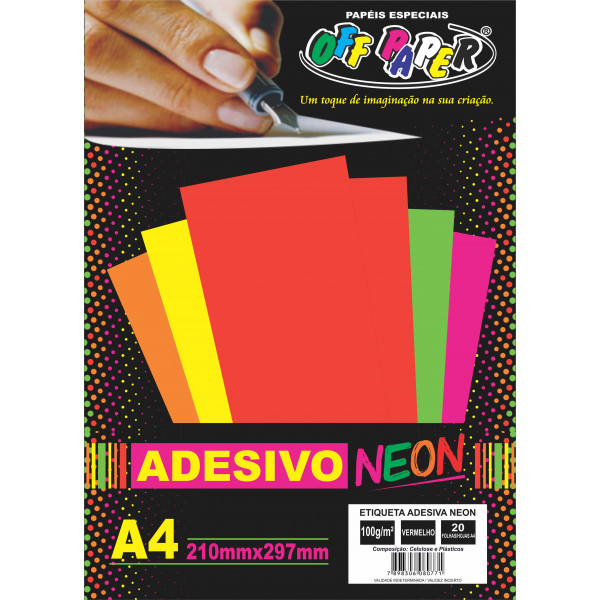 ETIQUETA ADESIVA NEON VM A4 C/20FLS