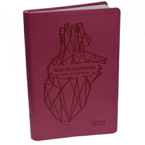 BÍBLIA SAGRADA FACIL DE ANTENDER ROSA CORAÇÃO