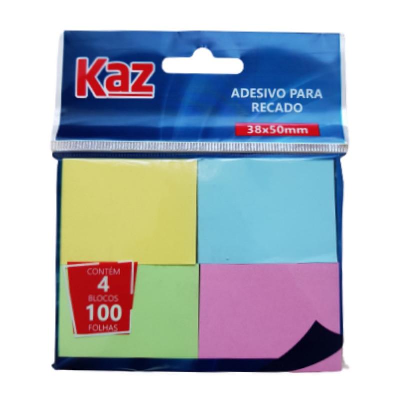 ADESIVO P/ RECADO C/4 BLOCOS 100FLS 38X50 KZ2005C
